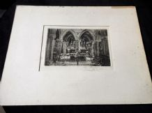 ANTIQUE UNFRAMED + MOUNT ETCHING MONOCHROME PRINT SIGNED G HUARDEL-BLY CATHEDRAL